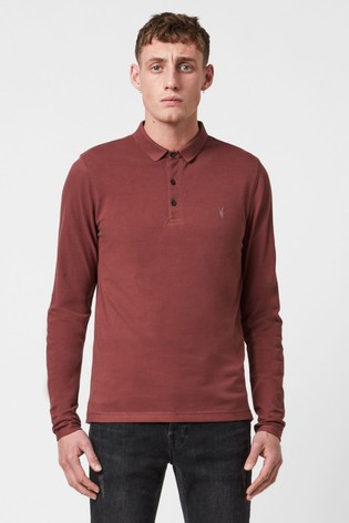 AllSaints Red Reform Long Sleeve Polo