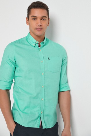 Aqua Slim Fit Roll Sleeve Lightweight Twill Shirt