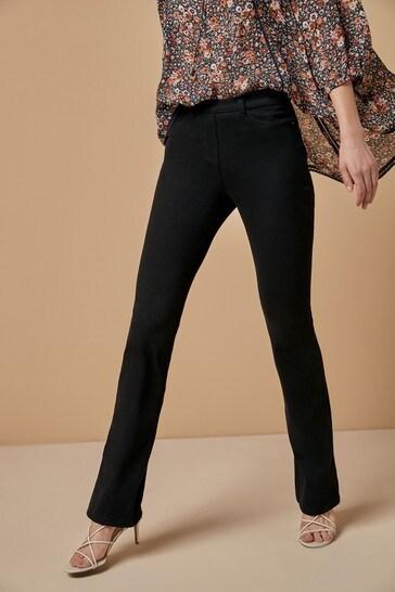 Black Jersey Denim Boot Cut Jeans