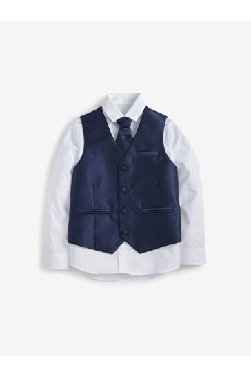 Navy Wedding Waistcoat, Shirt And Tie Set (12mths-16yrs)
