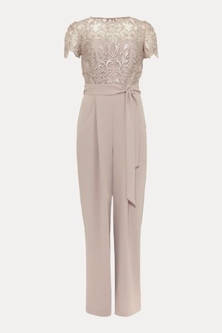 Phase Eight Neutral Kira Lace Bodice Jumpsuit