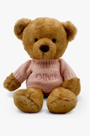 Babyblooms Personalised Pink Charlie Bear Soft Toy New Baby Gift