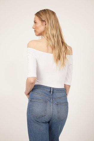 Warehouse White Short Sleeve Bardot Top
