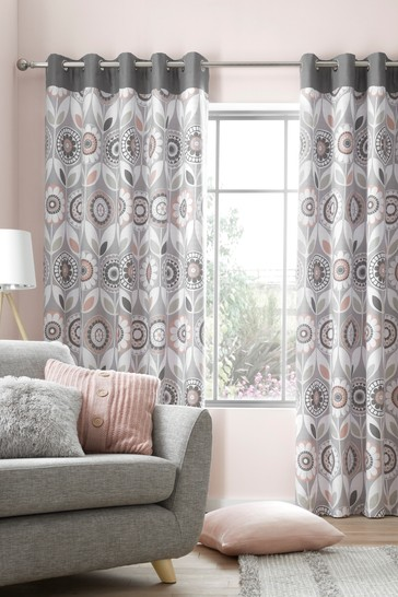 Annika Retro Floral Eyelet Curtains by Catherine Lansfield