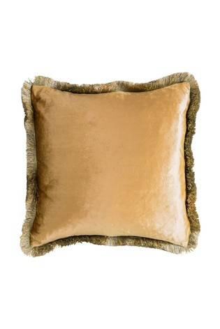 Gallery Direct Yellow Ombre Velvet Fringed Cushion