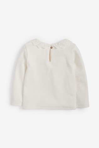 Cream Brushed Broderie Collar Top (3mths-7yrs)