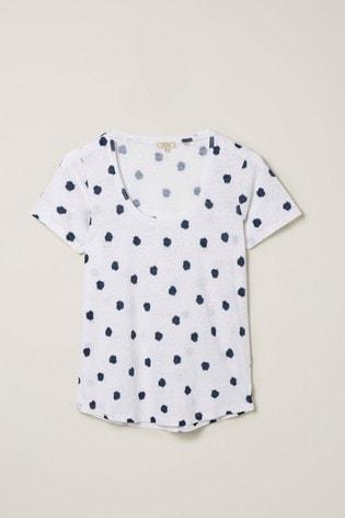 FatFace Natural Lucy Shibori Spot Linen T-Shirt