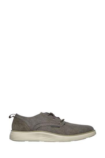 Skechers® Brown Status 2.0 - Pexton Low Profile Canvas Lace-Up Shoes