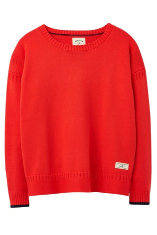 Joules Red Luciana Boxy Guernsey Jumper