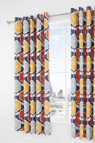 Retro Floral Lined Eyelet Curtains by Catherine Lansfield