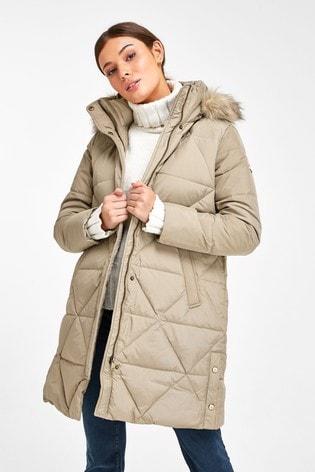 Lauren Ralph Lauren® Quilted Midi Faux Fur Trim Coat