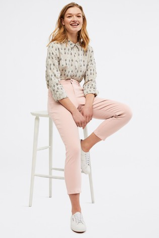 White Stuff Pink Straight Crop Jeans
