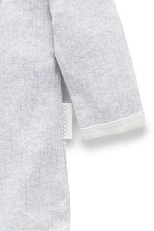 Purebaby Grey Organic Cotton Penguin Parade Sleepsuit