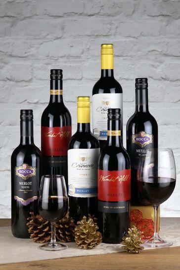 Set of 6 World Merlot Red Wine Selection by Le Bon Vin
