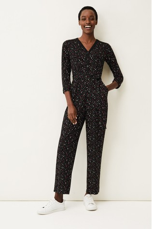 Phase Eight Black Anglia Ditsy Print Jumpsuit