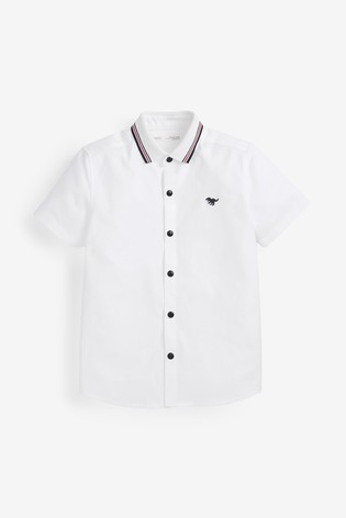 White Short Sleeve Shirt With Jersey Collar (3mths-7yrs)