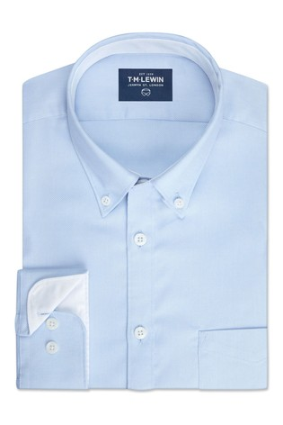 T.M. Lewin Royal Oxford Slim Fit Blue Single Cuff Shirt