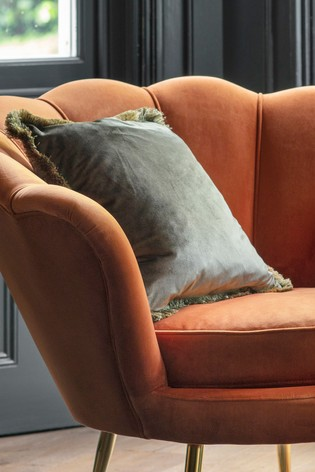 Ombre Velvet Fringed Cushion by Gallery Direct