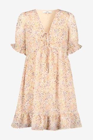 Multi Spot Print Ruched Ruffle Hem Mini Dress