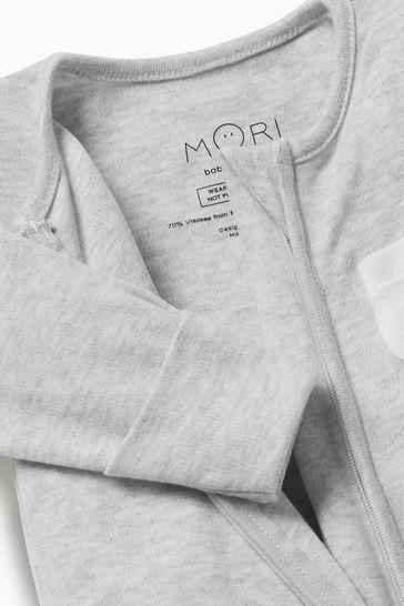 MORI Grey Zip-Up Sleepsuit