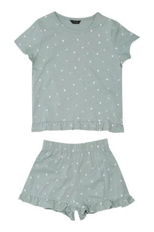 Kylie Green Pyjama Frill T-Shirt And Shorts