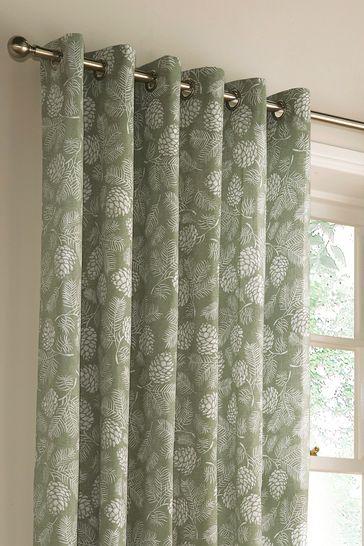 Irwin Leaf Print Eyelet Curtains by Furn