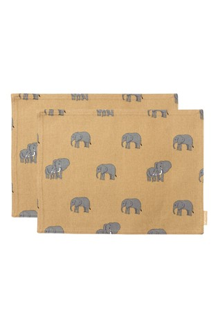 Set of 2 Sophie Allport Elephant Fabric Placemats