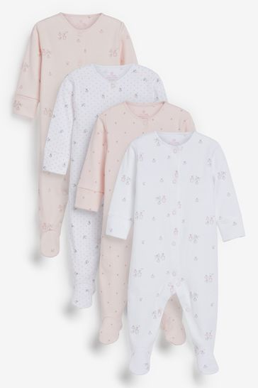 Pink 4 Pack  Delicate Bunny Sleepsuits (0-2yrs)