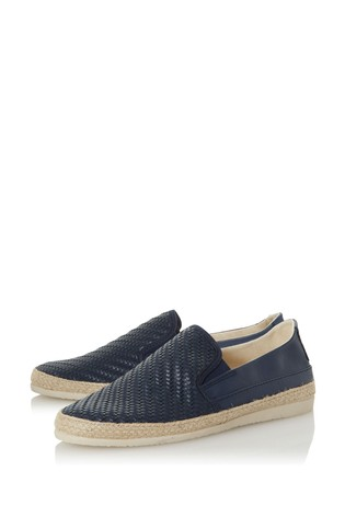 Dune London Fizzer Di Navy Leather Weave Espadrilles