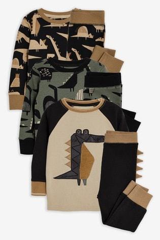 Khaki 3 Pack Dino Snuggle Pyjamas (9mths-8yrs)