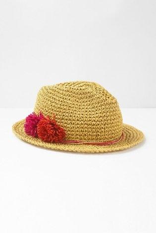 White Stuff Natural Crochet Fedora Hat