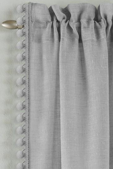 Tyrone Grey Tahiti Pom Pom Trim Sheer Voile Panel