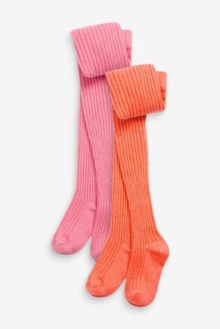 Pink/Orange 2 Pack Rib Tights
