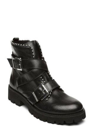 Steve Madden Black Hoofy Ankle Boots