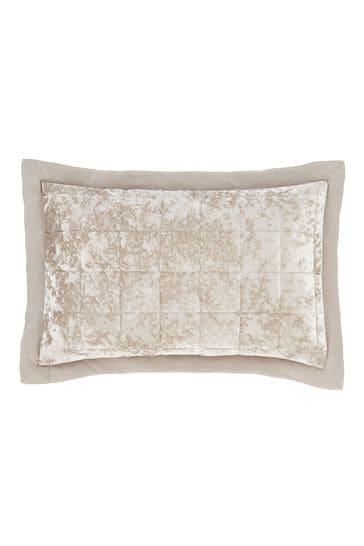 Set of 2 Catherine Lansfield Natural Crushed Velvet Pillowshams