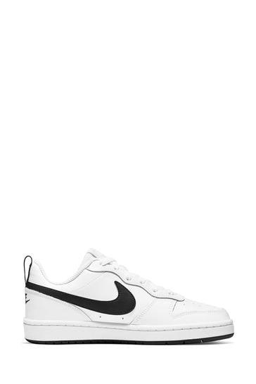 Nike White/Black Court Borough Youth Trainers