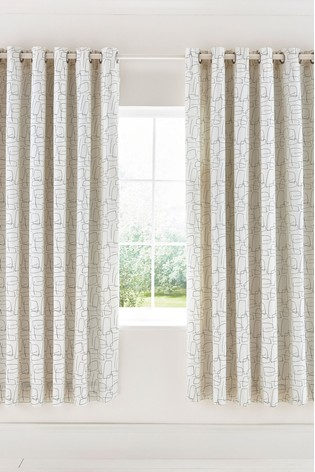 Scion Composition Abstract Geo Lined Eyelet Curtains