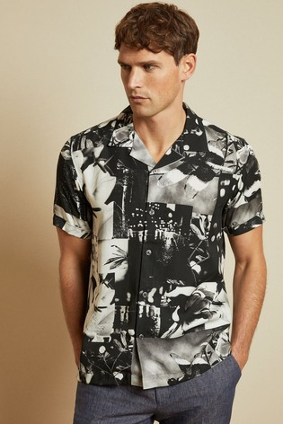 Ted Baker Photographic Revere Collar Shirt