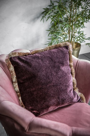 Gallery Direct Purple Velvet Fringed Two Tone Cushion