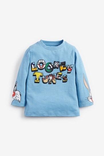 Blue Looney Tunes® Jersey Long Sleeve T-Shirt (3mths-8yrs)