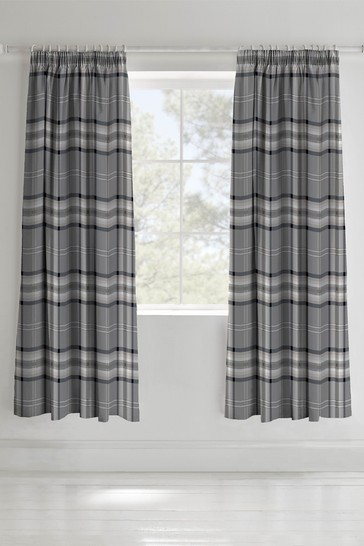 Kelso Check Pencil Pleat Curtains by Catherine Lansfield