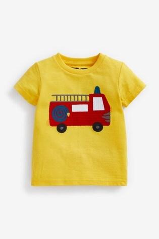 Yellow Fire Engine Appliqué T-Shirt (3mths-7yrs)