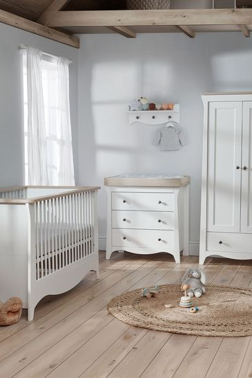 Cuddleco Clara 3pc Set Cot Bed, 3 Drawer Dresser and Changer and 2 Door Double Wardrobe