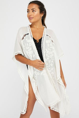 Accessorize Cream Sleeved Lace Long Kimono
