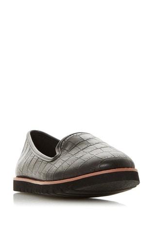 Dune London Galleon Black Croc Print Leather Printed Sport Loafers