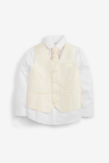 Gold Wedding Waistcoat, Shirt And Tie Set (12mths-16yrs)