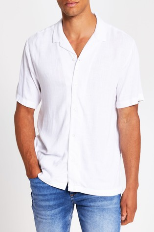 River Island White Short Sleeve Linen Mix Revere Collar Shirt