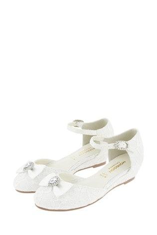 Monsoon Renee Bridal Lace Bow Trim Wedges