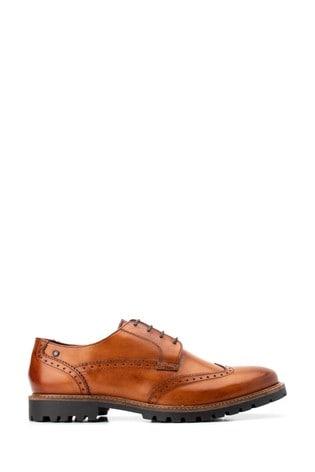 Base London® Tan Grundy Washed Lace-Up Shoes