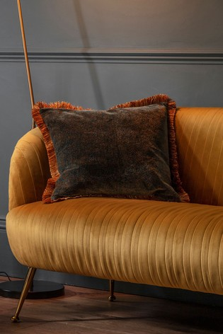 Velvet Fringed Two Tone Cushion by Gallery Direct